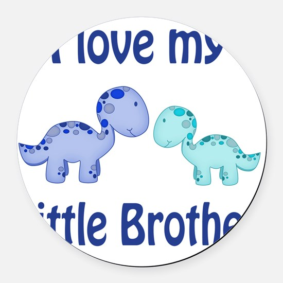 I love my Little Brother Dinosaur Round Car Magnet