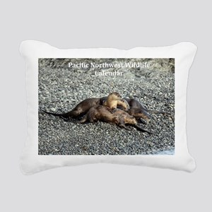 River Otters Rectangular Canvas Pillow