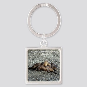 River Otters Square Keychain