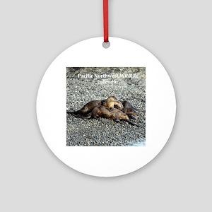 River Otters Round Ornament
