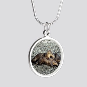 River Otters Silver Round Necklace