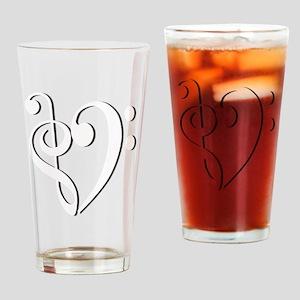 Trans_Heart_White Drinking Glass
