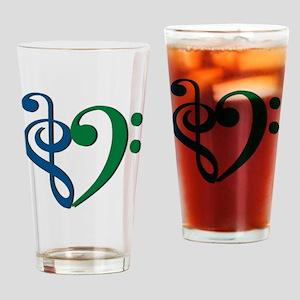 Trans_Heart_BlueGreen Drinking Glass