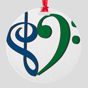Trans_Heart_BlueGreen Round Ornament
