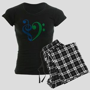 Trans_Heart_BlueGreen Women's Dark Pajamas