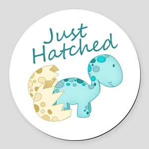Just Hatched Blue Baby Dinosaur Round Car Magnet