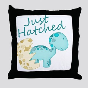 Just Hatched Blue Baby Dinosaur Throw Pillow