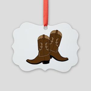 Cowboy Boots Picture Ornament