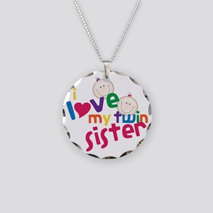 Twin Sister Necklace Circle Charm