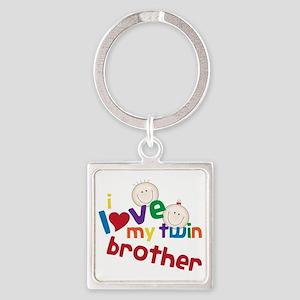 Love My Twin Square Keychain