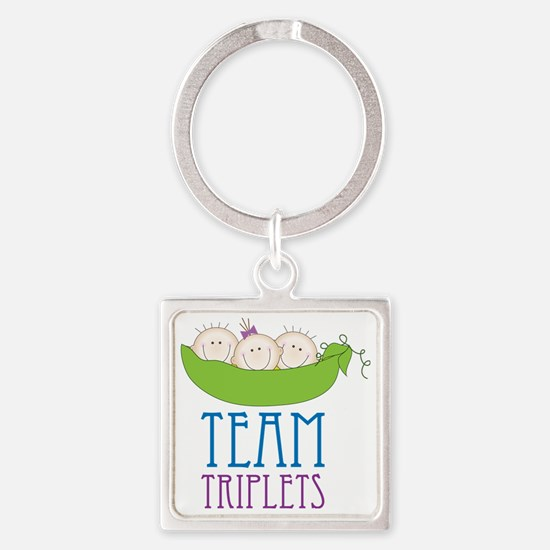 Team Triplets Square Keychain