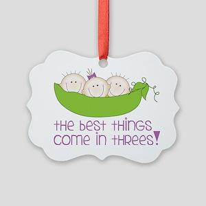 Come In Threes Picture Ornament