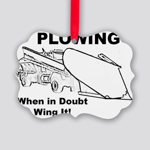 Snow Plowing Wing It Picture Ornament