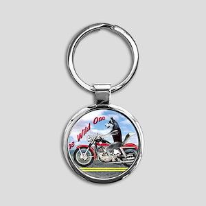 Siberian Husky Riding Motorcycle -  Round Keychain