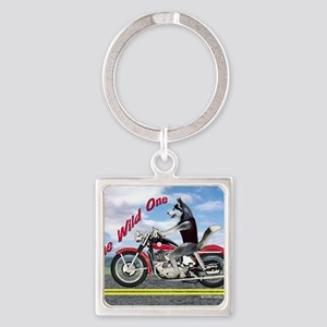Siberian Husky Riding Motorcycle - Square Keychain