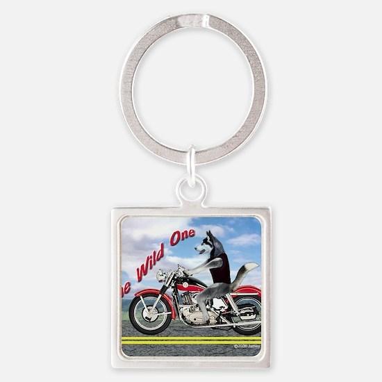 Siberian Husky Riding Motorcycle - Square Keychain