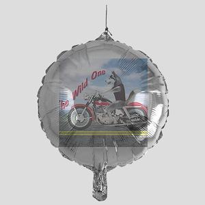 Siberian Husky Riding Motorcycle - T Mylar Balloon