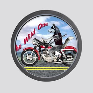 Siberian Husky Riding Motorcycle - The  Wall Clock