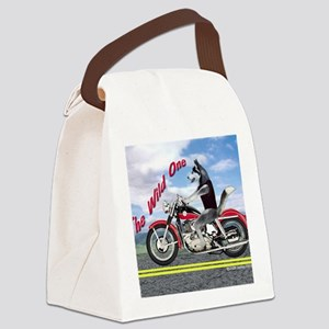 Siberian Husky Riding Motorcycle  Canvas Lunch Bag