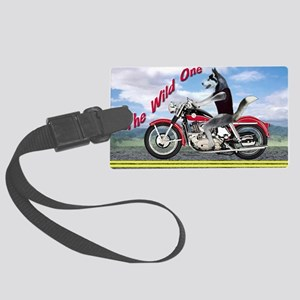 Siberian Husky Riding Motorcycle Large Luggage Tag