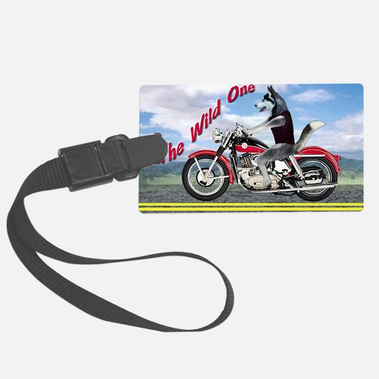 Siberian Husky Riding Motorcycle Luggage Tag