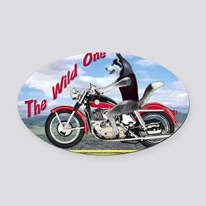 Siberian Husky Riding Motorcycle - Oval Car Magnet