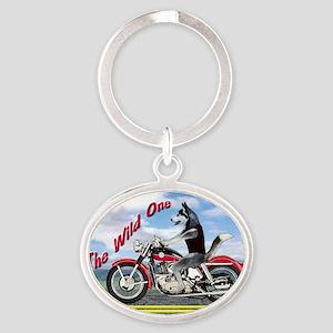 Siberian Husky Riding Motorcycle - T Oval Keychain