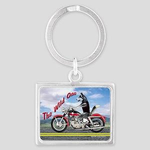 Siberian Husky Riding Motorcycl Landscape Keychain