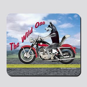 Siberian Husky Riding Motorcycle - The W Mousepad