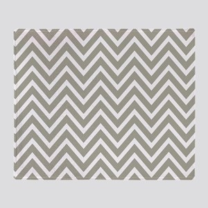 Gray and White Chevron Stripes Throw Blanket