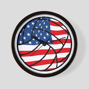 US Flag Volleyball Wall Clock