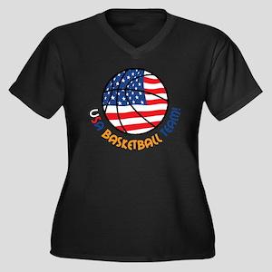 USA Basketba Women's Plus Size Dark V-Neck T-Shirt