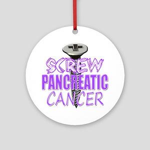 Screw Pancreatic Cancer Round Ornament