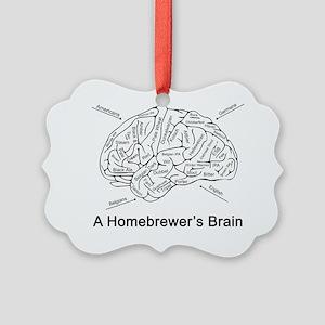 A Homebrewer's Brain (white) Picture Ornament