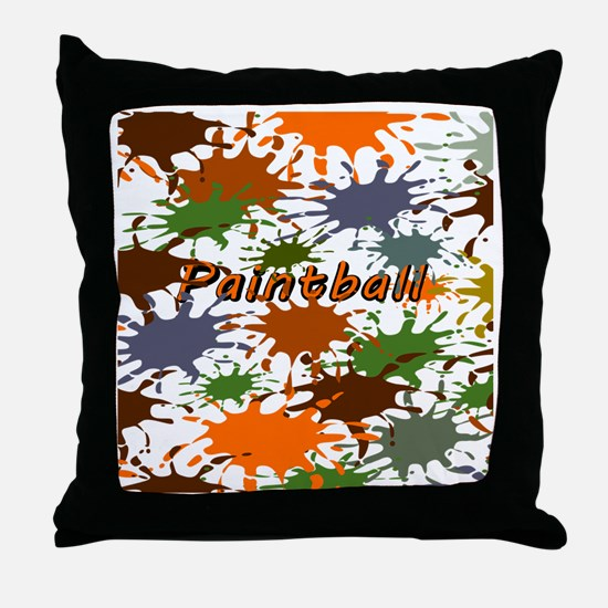 Fun Paintball Splatter Throw Pillow