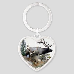 Buck deer bull elk Heart Keychain