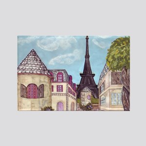 Paris Inspired Cityscape Lavender Rectangle Magnet