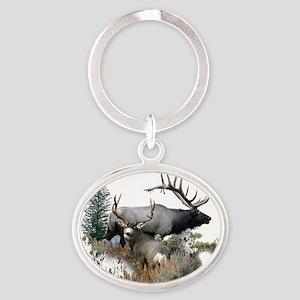 Buck deer bull elk Oval Keychain