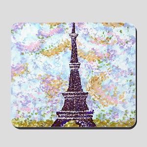 Eiffel Tower Pointillism With 2 Blue Bor Mousepad