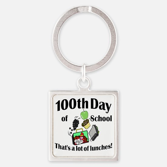 100th Day Lunches Square Keychain