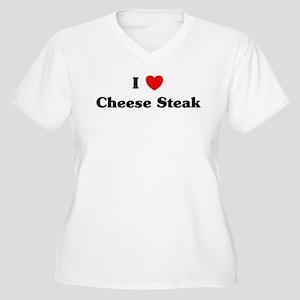 I love Cheese Steak Women's Plus Size V-Neck T-Shi