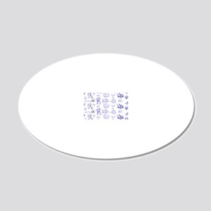 Blue Toile Pattern on 5x7 fe 20x12 Oval Wall Decal