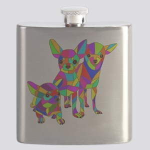 3 Colored Chihuahuas Flask