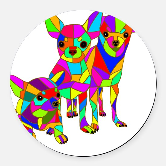 3 Colored Chihuahuas Round Car Magnet