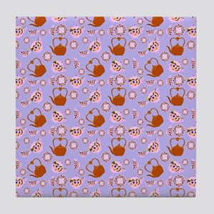 Tea Time Pink and Periwinkle Borders  Tile Coaster