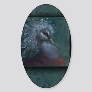 Victorian Crowned Pigeon Clipboard Sticker (Oval)