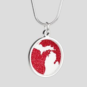 Michigan Silver Round Necklace