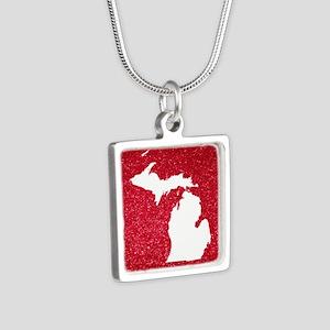 Michigan Silver Square Necklace