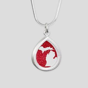 Michigan Silver Teardrop Necklace