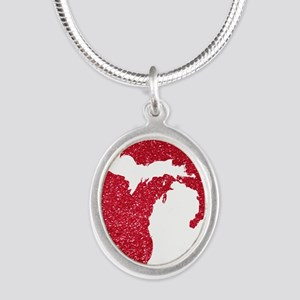 Michigan Silver Oval Necklace